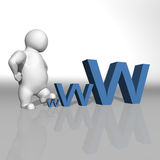 White character climbing on the word www Stock Photography
