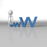 White character climbing on the word www and an internet concept Stock Images