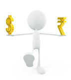 White character with dollar and rupee sign Stock Images