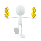 White character with dollar sign Stock Photos