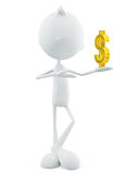 White character with dollar sign Royalty Free Stock Images