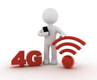 White character and 4G. Symbol Stock Image