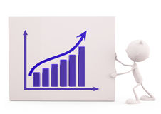 White character with graph. 3d illustration of white character with graph Stock Photo