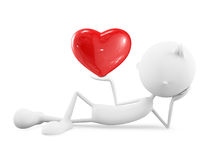 White character with heart. 3d illustration of white character with heart Royalty Free Stock Photos