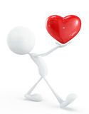 White character with heart. 3d illustration of white character with heart Stock Photo