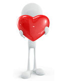 White character with heart. 3d illustration of white character with heart Royalty Free Stock Photo