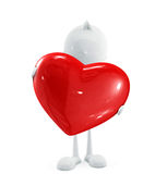 White character with heart. 3d illustration of white character with heart Stock Photos