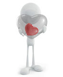 White character with heart. 3d illustration of white character with heart Royalty Free Stock Images