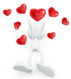 White character with heart. 3d illustration of white character with heart Royalty Free Stock Photography