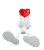 White character with heart. 3d illustration of white character with red heart Royalty Free Stock Photos