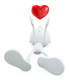 White character with heart. 3d illustration of white character with red heart Royalty Free Stock Photography