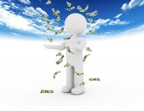 White character and money Royalty Free Stock Images