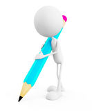 White character with pencil character Stock Image