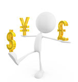 White character with  pound,yen and dollar sign Royalty Free Stock Photos