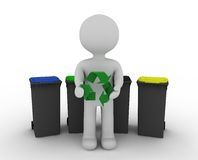 White character and recycling. Symbol Royalty Free Stock Images