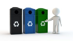 White character and recycling character stock photography