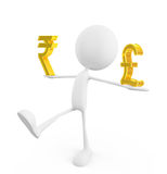 White character with rupee and pound sign Royalty Free Stock Image
