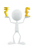 White character with rupee and pound sign Royalty Free Stock Photo
