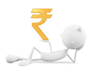 White character with rupee sign Stock Photos