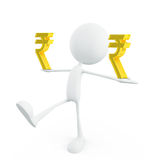 White character with rupee sign Royalty Free Stock Image