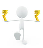 White character with rupee sign Royalty Free Stock Photos