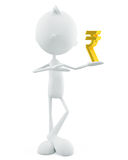 White character with rupee sign Stock Photography