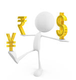 White character with rupee yen and dollar sign Stock Photos