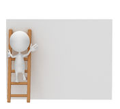 White character is searching. Illustration of 3d white is searching some thing in the white board Stock Image