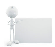 White character with sign board Royalty Free Stock Photography