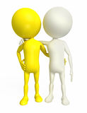 White Character standing with friend. 3D White Character standing with friend Stock Image