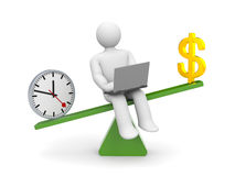 White character between time and money. Time outweighs Royalty Free Stock Image
