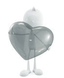 White character with transparent heart. 3d illustration of white character with transparent heart Royalty Free Stock Images