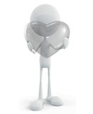 White character with transparent heart. 3d illustration of white character with transparent heart Stock Photos