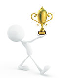 White character with trophy Stock Image