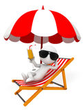 White character with umbrella and relax chair Royalty Free Stock Photo