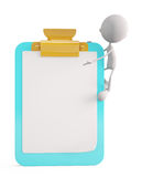 White character with writing pad Royalty Free Stock Photo