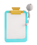 White character with writing pad Royalty Free Stock Images