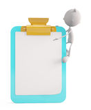 White character with writing pad Stock Photo