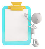 White character with writing pad Royalty Free Stock Photography