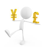 White character with yen and pound sign Stock Photo