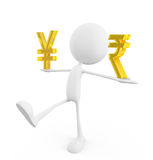 White character with yen and rupee sign Royalty Free Stock Photography