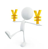 White character with yen sign Royalty Free Stock Image