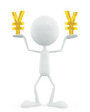 White character with yen sign Royalty Free Stock Images