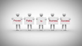White characters showing signs saying proven paths to business success stock footage