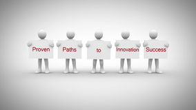 White characters showing signs saying proven paths to innovation success stock video footage