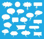 White chat bubbles for online communication, vector set Royalty Free Stock Photos