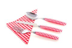 White checkered cutlery Stock Photos