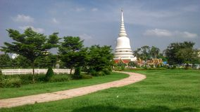 White Chedi of Srimahathat Royal Temple Stock Photos
