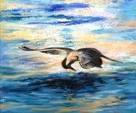 White-cheeked tern fishing, acrylic painting stock photo