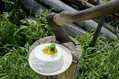 White cheese with an ax. White cheese decorated with cherry tomatoes lying on a tree stump next to the ax Stock Photography
